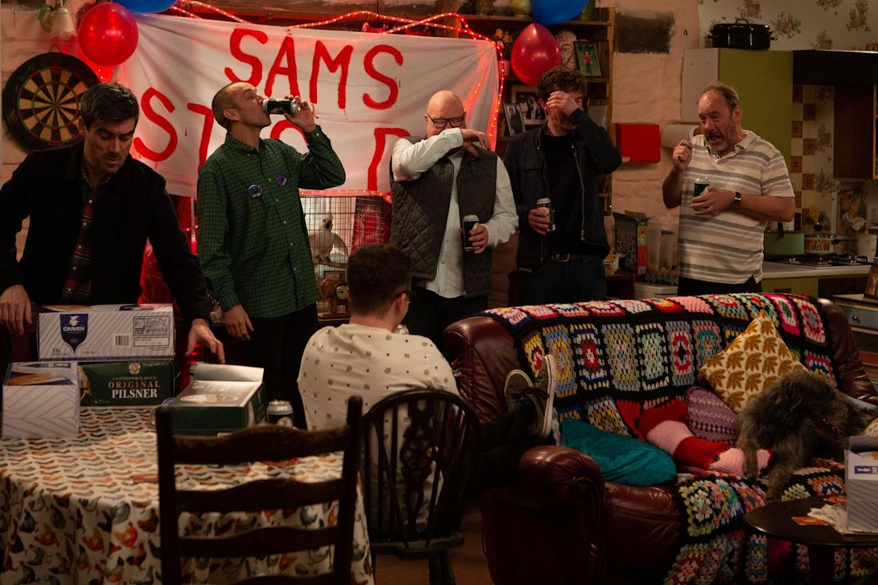 <p>The Dingles have a quiet gathering at the cottage.</p>