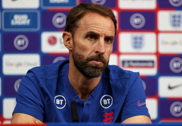 Gareth Southgate speaking during a press conference after the World Cup qualifier (Photo: Eddie Keogh - The FA via Getty Images)