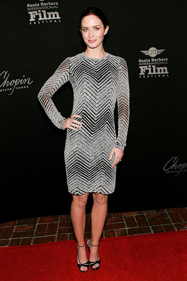 """Also in attendance ... """"Young Victoria's"""" vivacious star, Emily Blunt, who rocked the red carpet in a Naeem Khan long-sleeved beaded masterpiece and Jimmy Choo """"Blythe"""" heels. Jesse Grant/<a href=""""http://www.wireimage.com"""" target=""""new"""">WireImage.com</a> - February 7, 2010"""