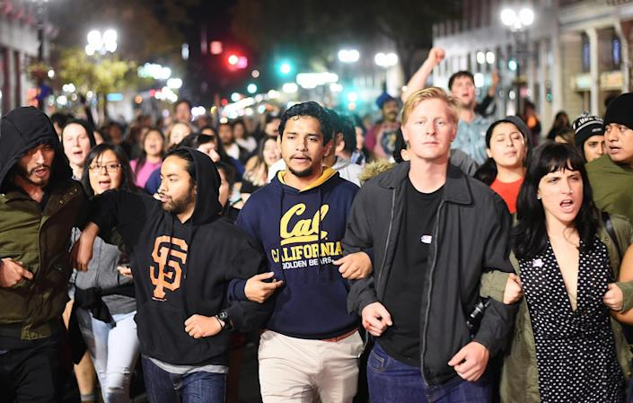 <p>Protesters against president-elect Donald Trump march peacefully through Oakland, Calif., on Nov. 9, 2016. (Photo: Noah Berger/Reuters) </p>