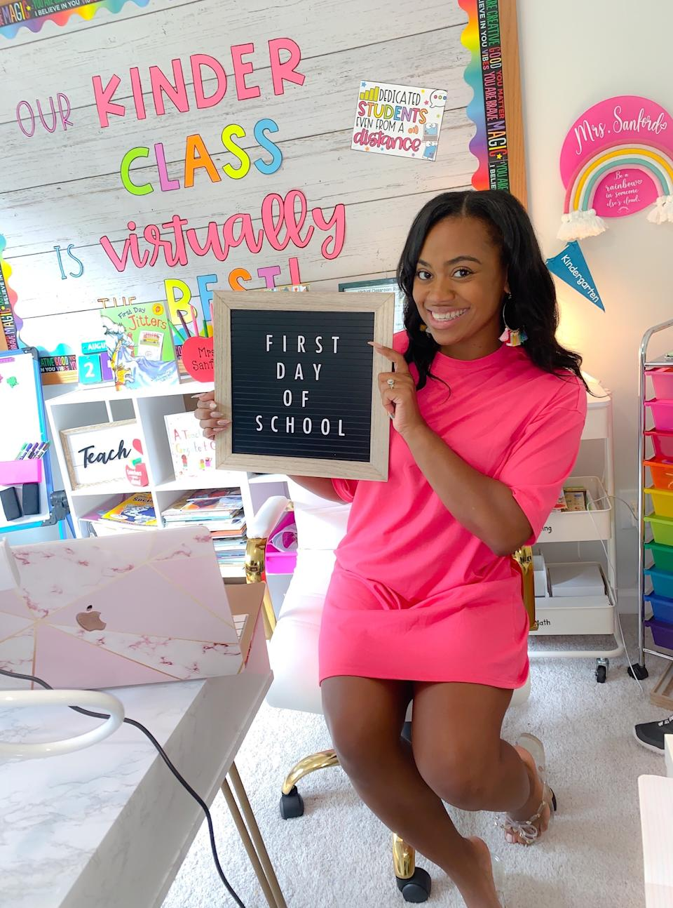 """Traneisha Sanford, a kindergarten teacher in Georgia, sits at her desk in her home on the first day of school.<span class=""""copyright"""">Courtesy of Traneisha Sanford</span>"""