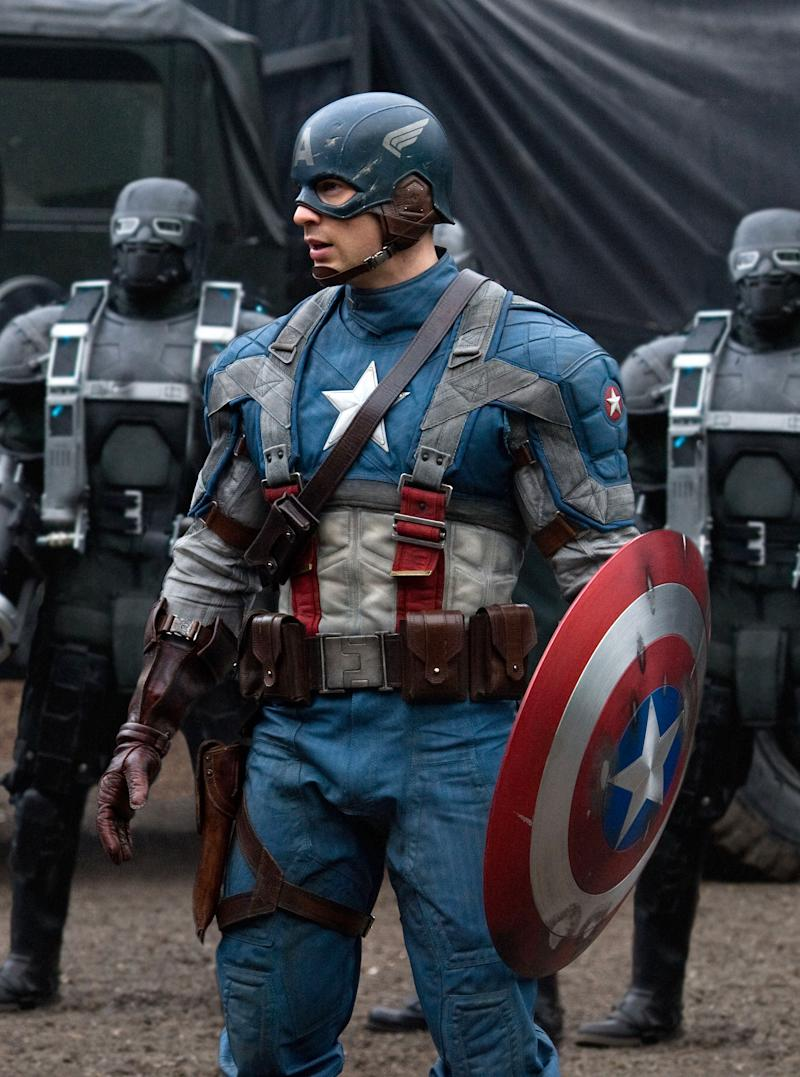 """In this film publicity image released by Paramount Pictures, Chris Evans is shown in a scene from the film """"Captain America: The First Avenger.""""  Paramount Pictures and Marvel Studios gave distributors around the world the option of shortening the title to""""The First Avenger."""" The only countries that took them up on it were Russia, Ukraine and South Korea. In other territories, the movie will go out with the full title, a sign that the brand value of the Marvel Comics hero trumps any potential anti-American sentiment in some parts of the world. (AP Photo/Paramount Pictures, Jay Maidment)"""