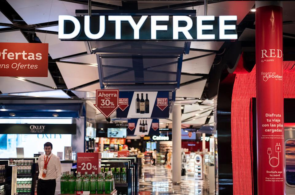 An identify theft expert has warned people to properly dispose of their duty-free receipt. Pictured is a duty-free hall at a Spanish airport.
