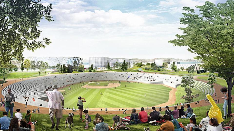 The plan includes turning the old Oakland Coliseum space into a community sports park with retail and housing built around it. (Athletics)