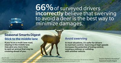 When faced with an animal on the road, it's best to avoid swerving and maintain control. Farmers found that 66% of surveyed drivers incorrectly believe that swerving is the best way to minimize damages.