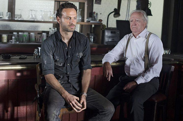 Andrew Lincoln as Rick Grimes and Scott Wilson as Hershel Greene in AMC's The Walking Dead . (Photo Credit: Gene Page/AMC)