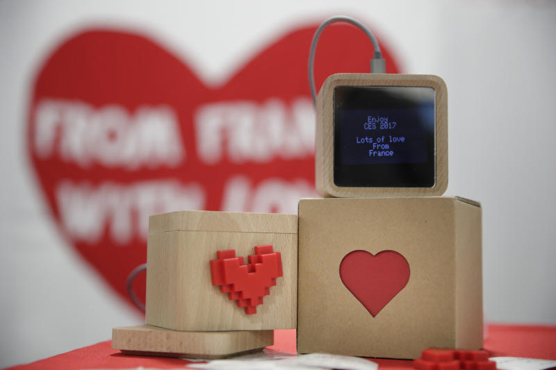 <p> LoveBox devices are on display at CES International Friday, Jan. 6, 2017, in Las Vegas. The device is designed to receive private messages through an Internet connection. (AP Photo/Jae C. Hong) </p>