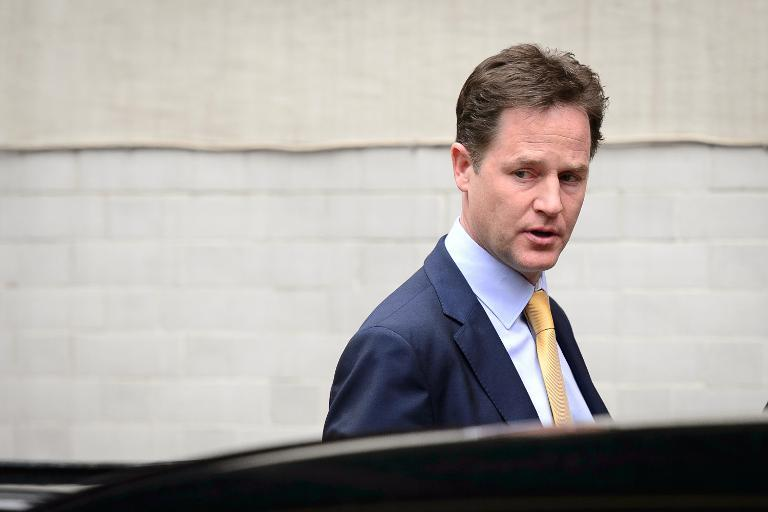 Liberal Democrat leader Nick Clegg leaves the party headquarters in Westminster, central London, on May 26, 2014