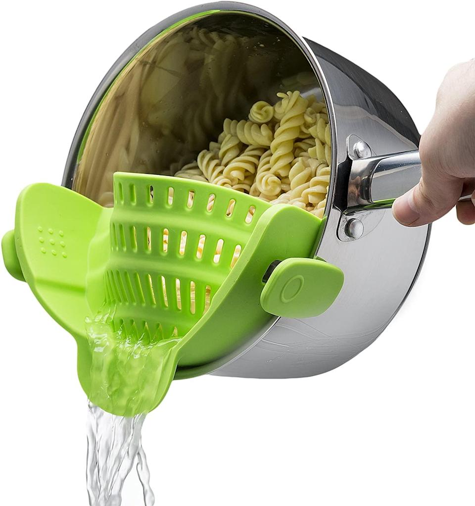 "<h3><a href=""https://amzn.to/2Zxz2Ga"" rel=""nofollow noopener"" target=""_blank"" data-ylk=""slk:Kitchen Gizmo Snap N Strain Strainer"" class=""link rapid-noclick-resp"">Kitchen Gizmo Snap N Strain Strainer<br></a></h3> <br>Colanders can be big and bulky and take up a lot of space. You could get one that nests within other kitchen tools or you could get this clip-on strainer, which takes up less than half the space.<br><br><br><br><br><strong>Kitchen Gizmo</strong> Snap N Strain Strainer, $, available at <a href=""https://amzn.to/2CaSkrR"" rel=""nofollow noopener"" target=""_blank"" data-ylk=""slk:Amazon"" class=""link rapid-noclick-resp"">Amazon</a><br><br><br><br>"