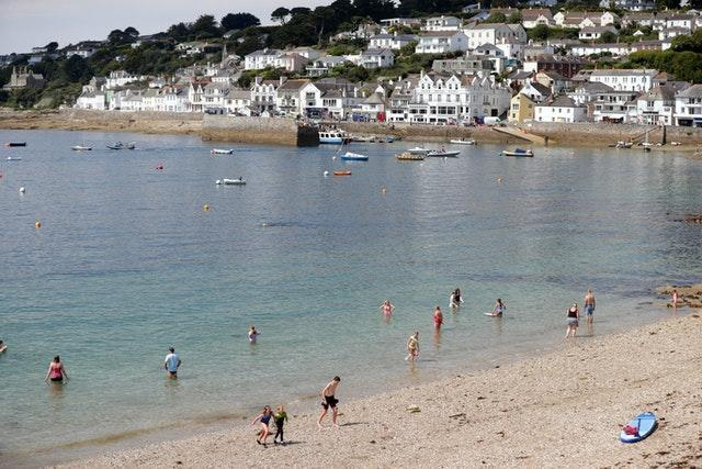 The beach at St Mawes in Cornwall over the summer