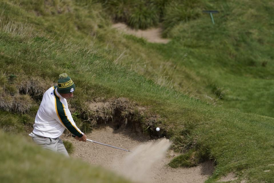 Team Europe's Viktor Hovland hits from a bunker on the seventh hole during a practice day at the Ryder Cup at the Whistling Straits Golf Course Wednesday, Sept. 22, 2021, in Sheboygan, Wis. (AP Photo/Jeff Roberson)