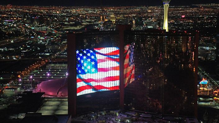 "Resorts World, one of two big resorts coming to Las Vegas, displayed a virtual Fourth of July show on its massive outdoor screen. It's set to open next summer. <span class=""copyright"">(Resorts World Las Vegas)</span>"