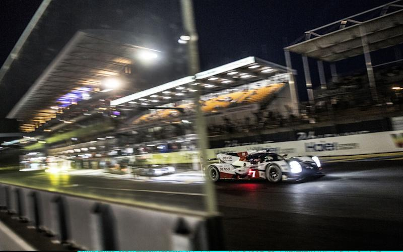 LE MANS, FRANCE - JUNE 14: (EDITORIAL USE ONLY) In this handout image provided by Red Bull, The #7 Toyota LMP1 TS050 Hybrid driven by Stephane Sarrazin of France, Kamui Kobayashi of Japan and Mike Conway of the UK during the first qualifying session for the 24 Hours of Le Mans, the third round of the 2017 FIA World Endurance Championship at Circuit de la Sarthe on June 14, 2017 in Le Mans, France. (Photo by Dean Treml/Red Bull via Getty Images)  - Credit: Getty Images Europe