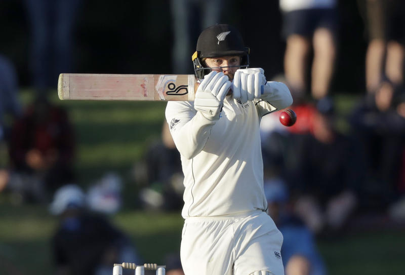 New Zealand's Tom Blundell plays at the ball while batting during play on day one of the second cricket test between New Zealand and India at Hagley Oval in Christchurch, New Zealand, Saturday, Feb. 29, 2020. (AP Photo/Mark Baker)