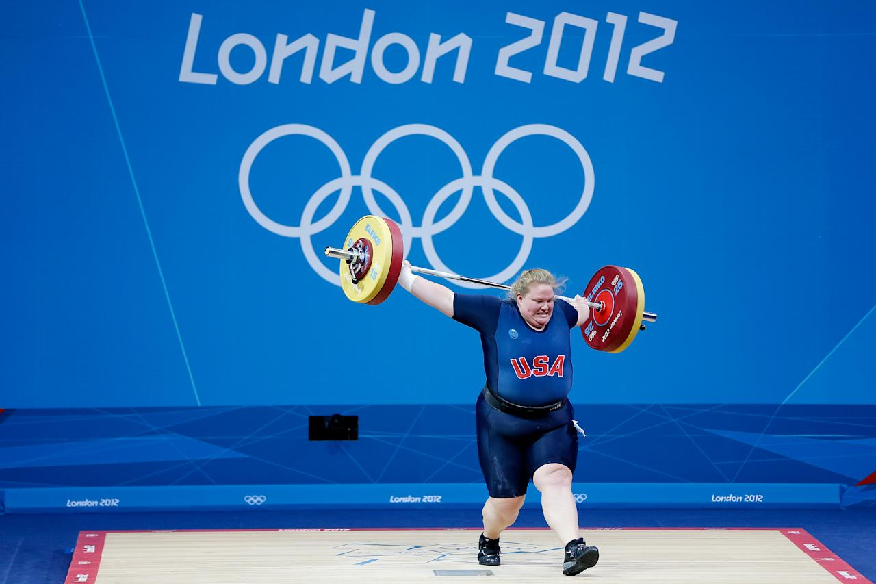 LONDON, ENGLAND - AUGUST 05:  Holley Mangold of the United States during the Women's 75kg Weightlifting on Day 9 of the London 2012 Olympic Games at ExCeL on August 5, 2012 in London, England.  (Photo by Jamie Squire/Getty Images)