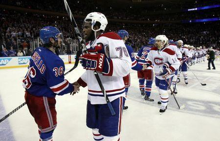 May 29, 2014; New York, NY, USA; Montreal Canadiens defenseman P.K. Subban (76) shakes hands with New York Rangers right wing Mats Zuccarello (36) after in game six of the Eastern Conference Final of the 2014 Stanley Cup Playoffs at Madison Square Garden. Mandatory Credit: Adam Hunger-USA TODAY Sports