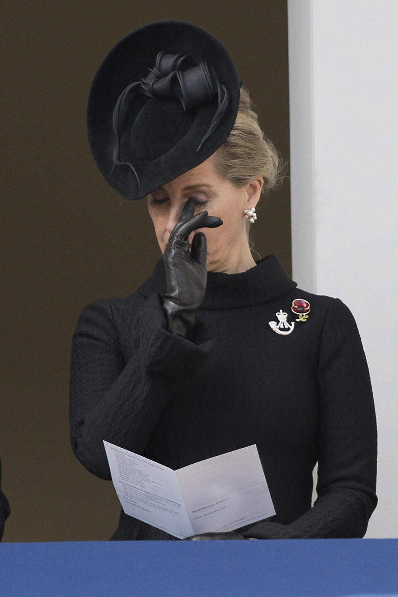 Britain's Sophie, Countess of Wessex watches from a balcony the Remembrance Sunday ceremony at the Cenotaph on Whitehall, London, on November 13, 2016. Services are held annually across Commonwealth countries during Remembrance Day to commemorate servicemen and women who have fallen in the line of duty since World War I. / AFP / JUSTIN TALLIS (Photo credit should read JUSTIN TALLIS/AFP via Getty Images)