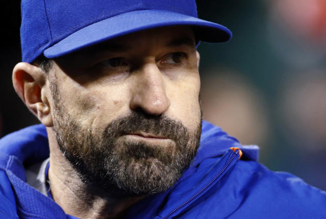 New York Mets manager Mickey Callaway stands in the dugout during the ninth inning of the team's baseball game against the Washington Nationals, Tuesday, May 14, 2019, in Washington. (AP Photo/Patrick Semansky)