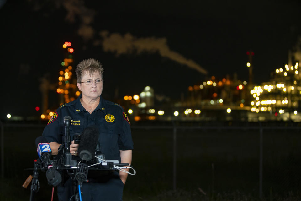 Chemical Plant Leak-Texas Harris County Fire Marshal Laurie Christensen speaks near the LyondellBasell facility in La Porte, Texas Tuesday, July 27, 2021. An explosion Tuesday evening killed two people at the facility and left several others injured according to Christensen. (Mark Mulligan/Houston Chronicle via AP)