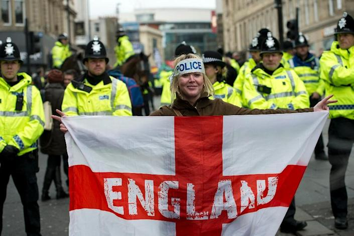 """A protester at a demonstration in Newcastle in February by the UK branch of the German group 'Pegida', which opposes what it calls the """"Islamisation"""" of Europe (AFP Photo/Oli Scarff)"""