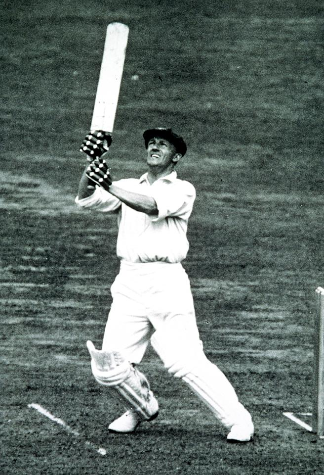 1934:  Sir Donald Bradman hits out during a test against England. It was announced 26 Feb 2001 that Sir Donald Bradman had died in Adelaide, Australia. Mandatory Credit: Allsport Australia/ALLSPORT
