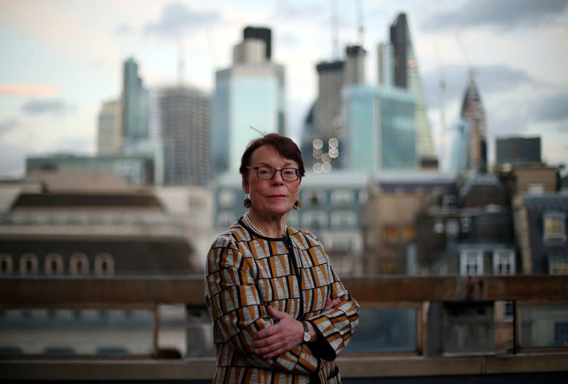 FILE PHOTO: Catherine McGuinness, Chairman of the Policy and Resources Committee of the City of London Corporation, poses for a photograph in London
