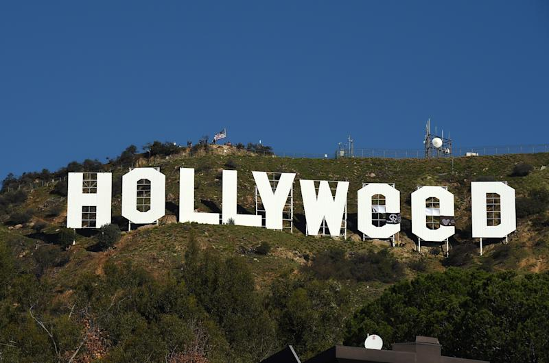 LOS ANGELES, CA - JANUARY 01: Hollywood sign changed to Hollyweed on January 01, 2017 in Los Angeles, California. (Photo by Axelle/Bauer-Griffin/GC Images)