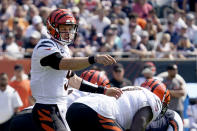 Cincinnati Bengals quarterback Joe Burrow calls a play at the line of scrimmage during the first half of an NFL football game against the Chicago Bears Sunday, Sept. 19, 2021, in Chicago. (AP Photo/Nam Y. Huh)