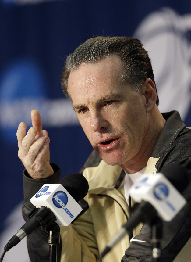 Pittsburgh coach Jamie Dixon speaks during a news conference at the NCAA college basketball tournament Friday, March 21, 2014, in Orlando, Fla. Pittsburgh faces Florida in a third-round game on Saturday. (AP Photo/John Raoux)