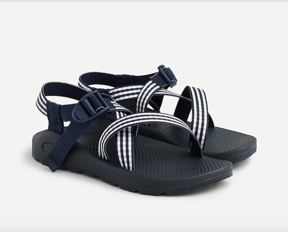 """<p><strong>J.Crew</strong></p><p>jcrew.com</p><p><strong>$105.00</strong></p><p><a href=""""https://go.redirectingat.com?id=74968X1596630&url=https%3A%2F%2Fwww.jcrew.com%2Fp%2FAR357&sref=https%3A%2F%2Fwww.townandcountrymag.com%2Fstyle%2Ffashion-trends%2Fg36384322%2Fbest-sandals-for-women%2F"""" rel=""""nofollow noopener"""" target=""""_blank"""" data-ylk=""""slk:Shop Now"""" class=""""link rapid-noclick-resp"""">Shop Now</a></p><p>Sporty with a side of prep, these gingham patterned Chacos are just what you need for an athletic, outdoorsy summer. </p>"""