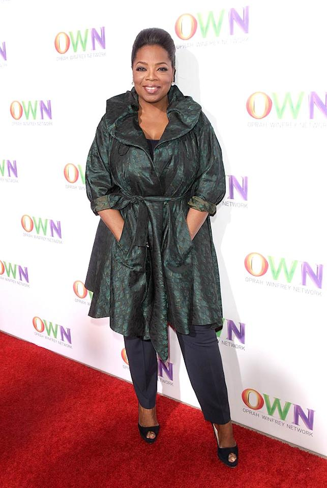 """Oprah Winfrey hit the red carpet to celebrate the launch of her new television network, OWN, at a cocktail party held during the Television Critics Association Winter Press Tour in Pasadena, California. Apparently, while talking up OWN at a press conference before the bash, Oprah confused reporters when she <a href=""""http://www.nypost.com/p/entertainment/tv/way_out_oprah_5aKNMsnDlugkrsqIKduzVN"""" target=""""new"""">rambled on</a> for about 18 minutes talking about everything from a trip to the gynecologist to the fact that she is anti TV. """"I am very much aware of the energy that television is transmitting all the time, which is why up until now I have never allowed it on in my house,"""" she said. Todd Williamson/<a href=""""http://www.wireimage.com"""" target=""""new"""">WireImage.com</a> - January 6, 2011"""