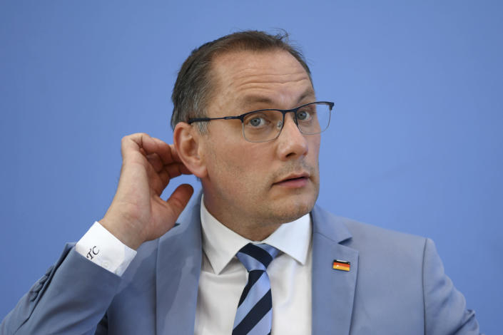 Germany's far-right Alternative for Germany (AfD) spokesperson Tino Chrupalla holds a news conference following the Saxony-Anhalt state election, in Berlin, Germany, Monday, June 7, 2021. (Annegret Hilse/Pool via AP)