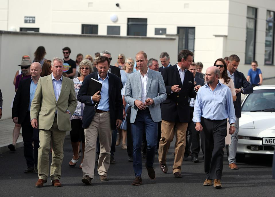 TRURO, ENGLAND - SEPTEMBER 01: Prince William, Duke of Cambridge visits Tregunnel Hill, a new neighbourhood development on Duchy of Cornwall-owned land on September 1, 2016 in Truro, United Kingdom. (Photo by Steve Parsons - WPA Pool/Getty Images)