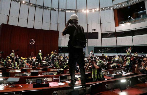 PHOTO: Protesters are seen inside a chamber after they broke into the Legislative Council building during the anniversary of Hong Kong's handover to China in Hong Kong, July 1, 2019. (Tyrone Siu/Reuters)