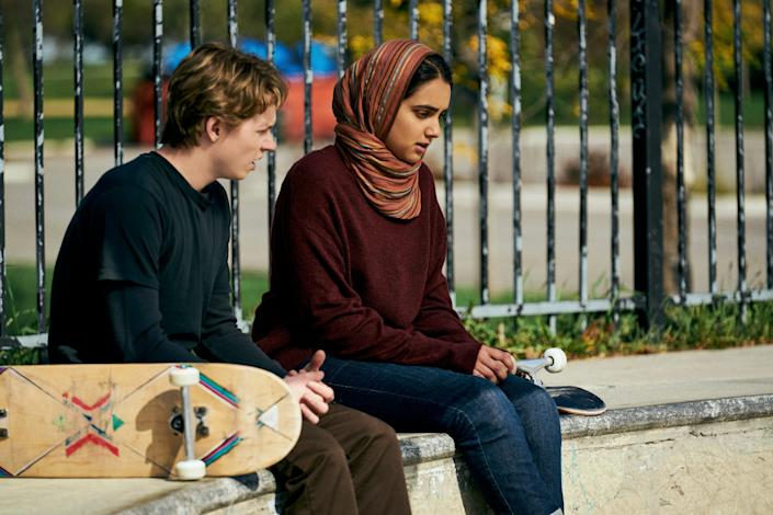 """A high school senior (Geraldine Viswanathan, right) develops feelings for a classmate (Jack Kilmer) that run counter to her traditional Muslim upbringing in the coming-of-age drama """"Hala."""""""