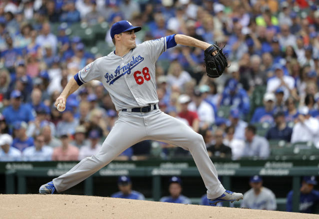 Los Angeles Dodgers starting pitcher Ross Stripling delivers during the first inning of a baseball game against the Chicago Cubs Wednesday, June 20, 2018, in Chicago. (AP Photo/Charles Rex Arbogast)