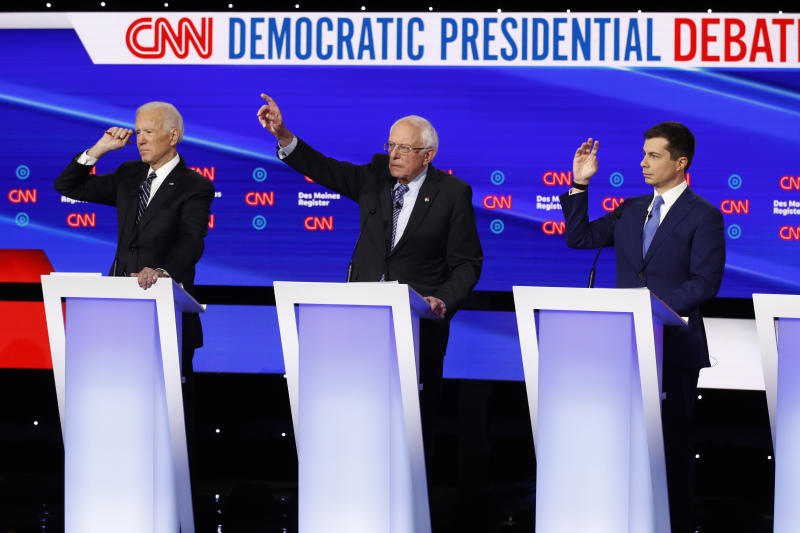 Pictured: Joe Biden, Bernie Sanders and Pete Buttigieg at a Democratic presidential primary debate hosted by CNN.