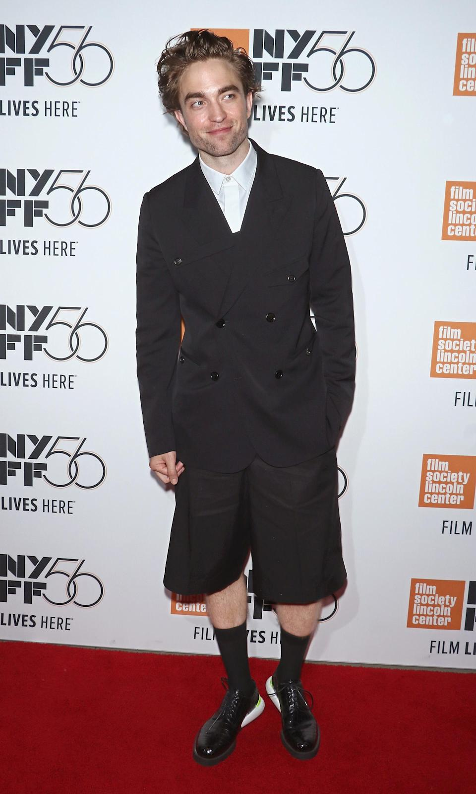 <p>Actor Robert Pattinson worked a Dior Homme shorts and jacket combination with laced up Oxford brogues and artfully dishevelled hair at the 56th New York Film Festival premiere of 'High Life' at Alice Tully Hall, Lincoln Centre. <em>[Photo: Getty]</em> </p>
