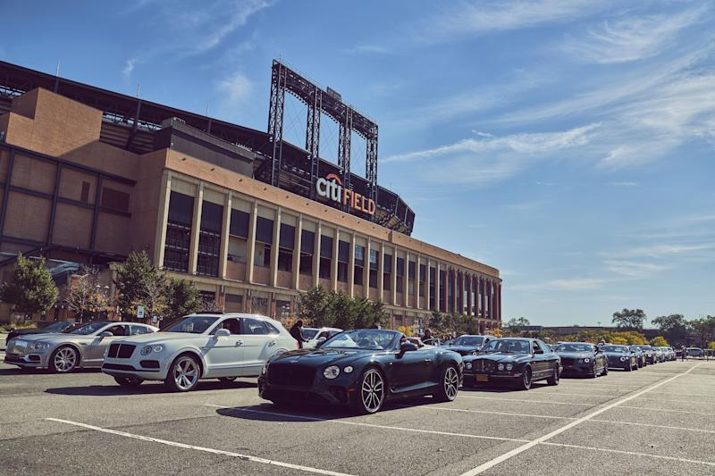 Bentley owners and enthusiasts gathered at Citi Field to caravan into New York City. The group was led by a Bentley Flying Spur, the third generation of the luxury 4-door sedan, which goes on sale in 2020.