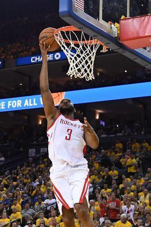 May 22, 2018; Oakland, CA, USA; Houston Rockets guard Chris Paul (3) shoots a layup against the Golden State Warriors during the second quarter in game four of the Western conference finals of the 2018 NBA Playoffs at Oracle Arena. Mandatory Credit: Kyle Terada-USA TODAY Sports
