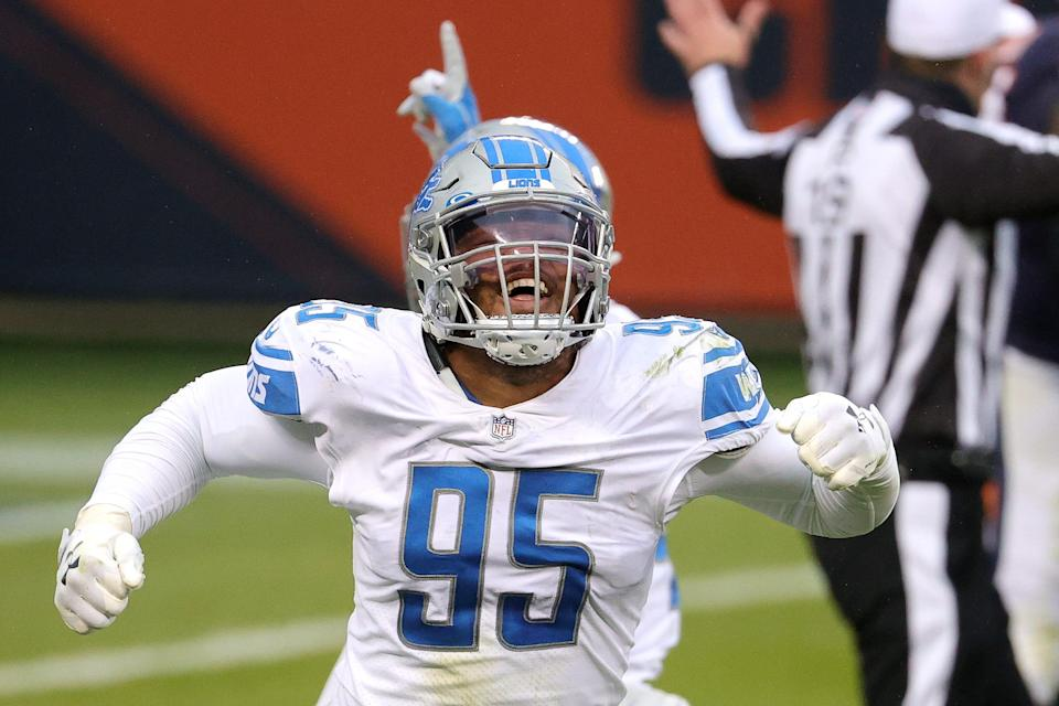 Romeo Okwara of the Detroit Lions celebrates after forcing a fumble against the Chicago Bears during the second half at Soldier Field on Dec. 6, 2020 in Chicago.