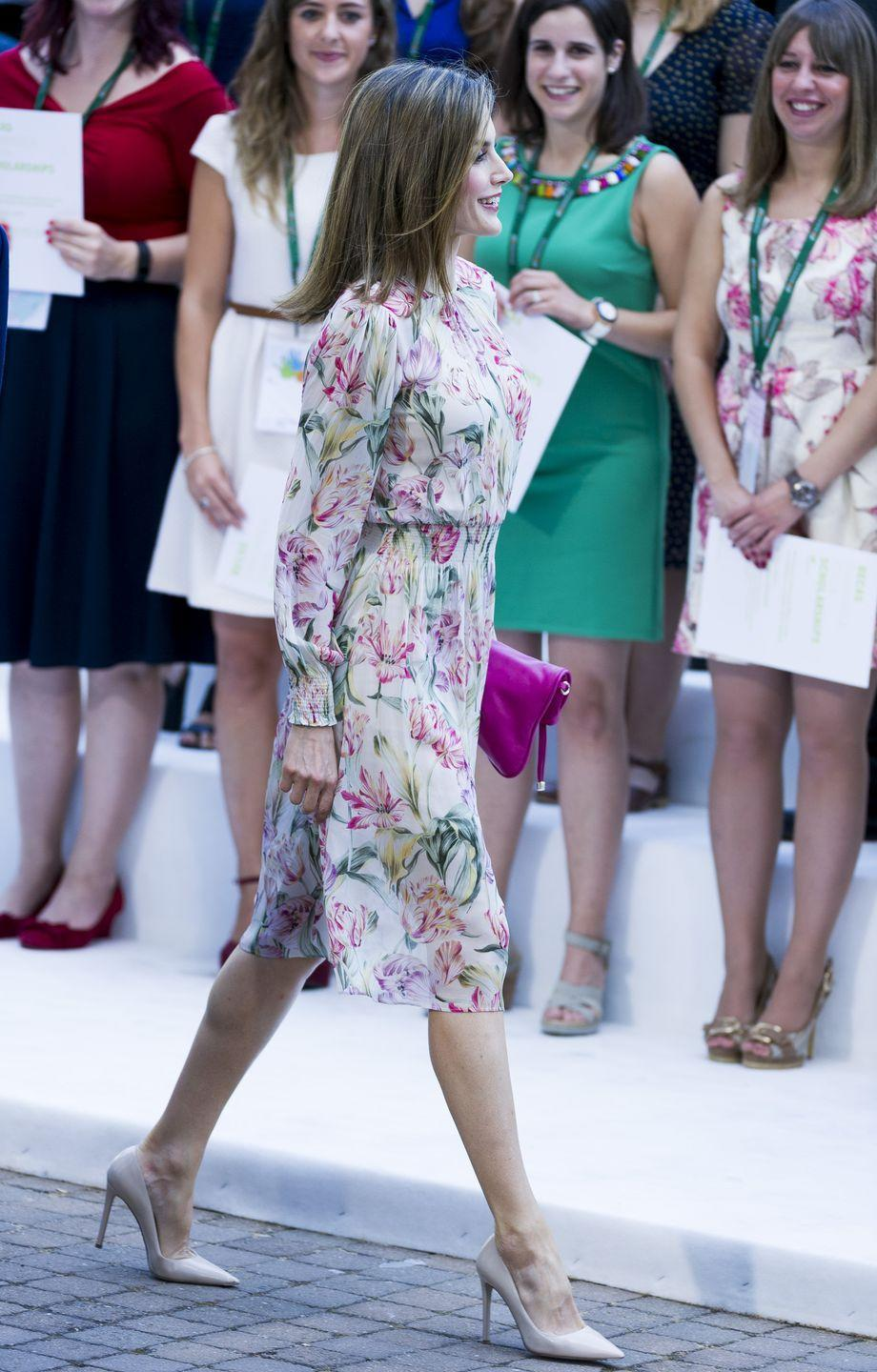<p>Like many royals, she's a fan of pastels and romantic florals, she confidently mixes affordable brands and luxury pieces, such as the above dress from Zara, which she paired with Prada pumps.</p>