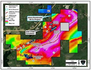 Map view of the Alexo-Dundonald Property showing the A-O VTEM™ anomalies and the four known nickel sulphide deposits on airborne magnetics image.