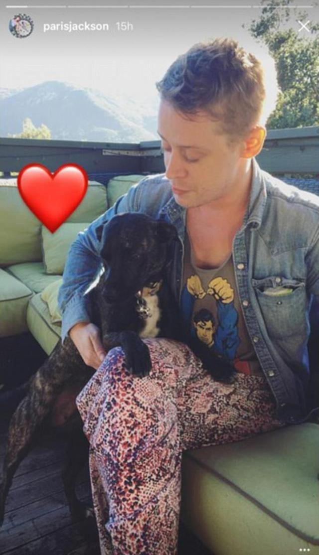 "<p>Macaulay Culkin is also ""in"" with Paris's animals. On June 12, she shared a photo of Mac, rocking some wild-print pants, playing with her sweet pup, Koa. She captioned the photo with a heart. (Paris Jackson via Instagram) </p>"