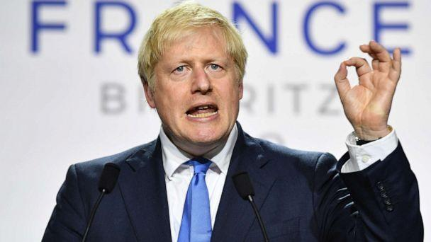 PHOTO: UK Prime Minister Boris Johnson during a press conference in the Bellevue hotel conference room at the conclusion of the G-7 summit on Aug. 24, 2019, in Biarritz, France. (Jeff J Mitchell/Getty Images)