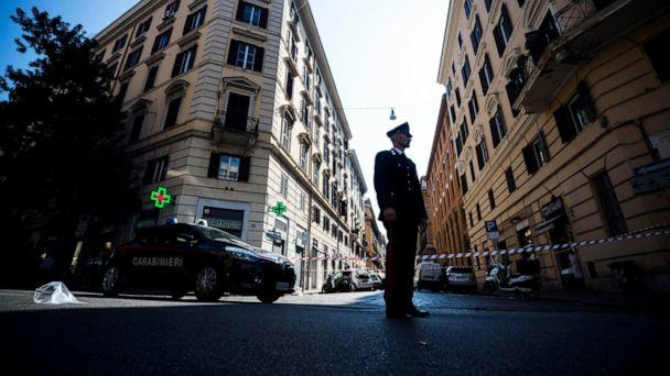 PHOTO: An Italian Carabiniere, paramilitary policeman, patrols near the site where his colleague, Carabiniere Vice Brigadier Mario Cerciello Rega was stabbed to death by a thief in Rome, Friday, July 26, 2019. (Angelo Carconi/ANSA Via AP)