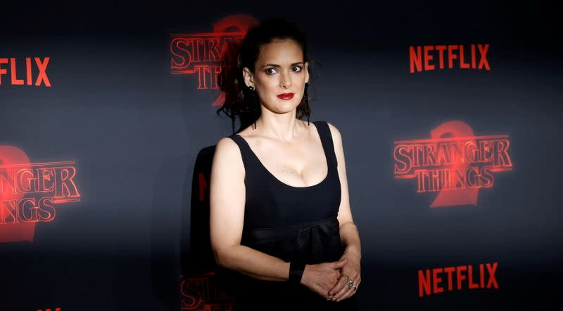 """FILE PHOTO: Cast member Ryder poses at the premiere for the second season of the television series """"Stranger Things"""" in Los Angeles"""
