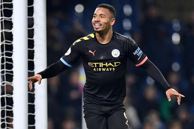 Gabriel Jesus is hoping his brace against Burnley can spark him into being a more regular goalscorer like his Manchester City team-mate Sergio Aguero (AFP Photo/Paul ELLIS)