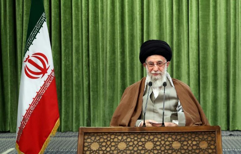 Iran's supreme leader Ayatollah Ali Khamenei, pictured here during a televised address on March 21, 2021, has warned against protracted talks on the country's nuclear programme