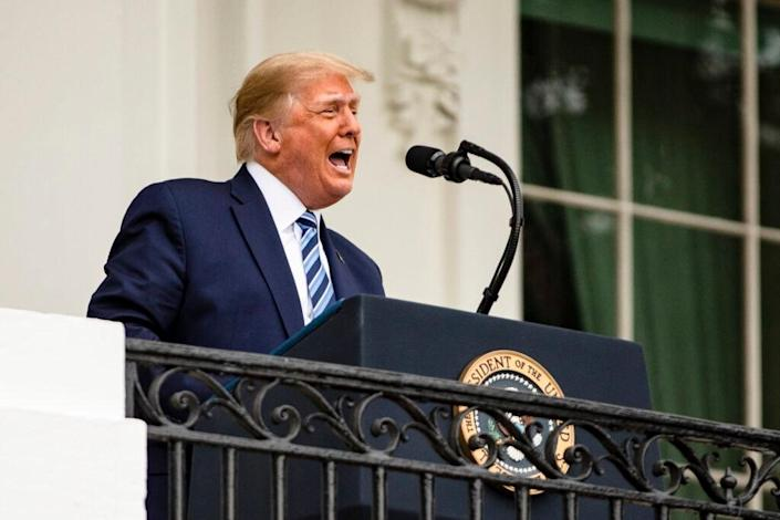 U.S. President Donald Trump addresses a rally in support of law and order on the South Lawn of the White House on October 10, 2020 in Washington, DC. (Photo by Samuel Corum/Getty Images)